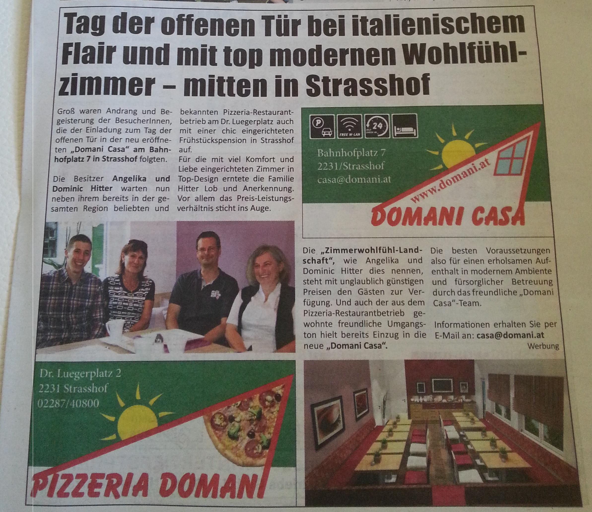 """Domani Casa - """"Die gänserndorf Rundschau"""""""